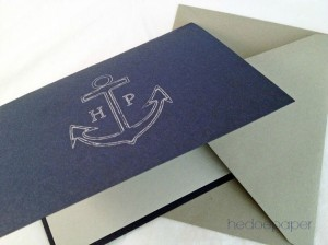 anchor folded notecard, Father's Day Gift Raleigh, stationary for men, Raleigh stationary