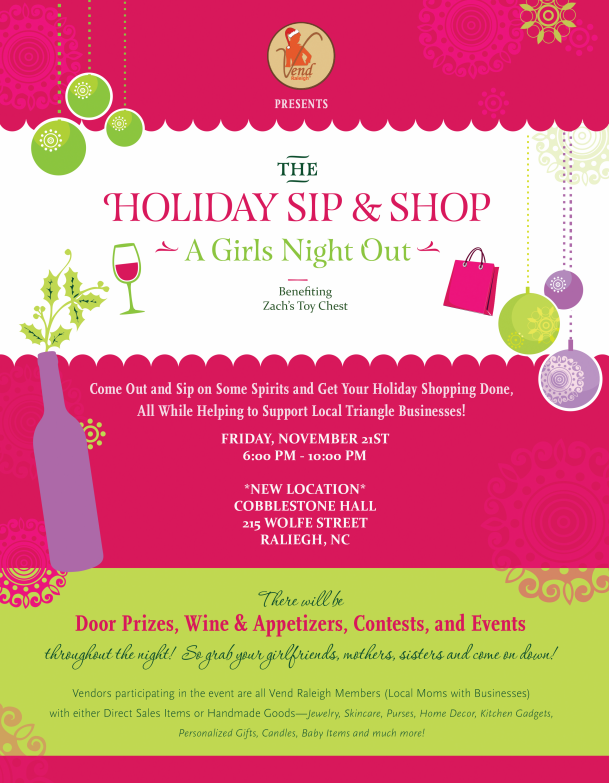 Vend Raleigh Holiday Sip and Shop, Girls Night Out Shopping Event Downtown Raleigh