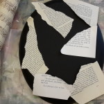 Pages from a book torn and layed on top of a canvas. Vend Raleigh, Cool Mama Crafts